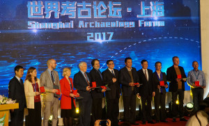 Winners of the Research Awards at the Shangai Archaeology Forum 2017, with Richard (5th from the left).  Source: http://www.kaogu.cn/
